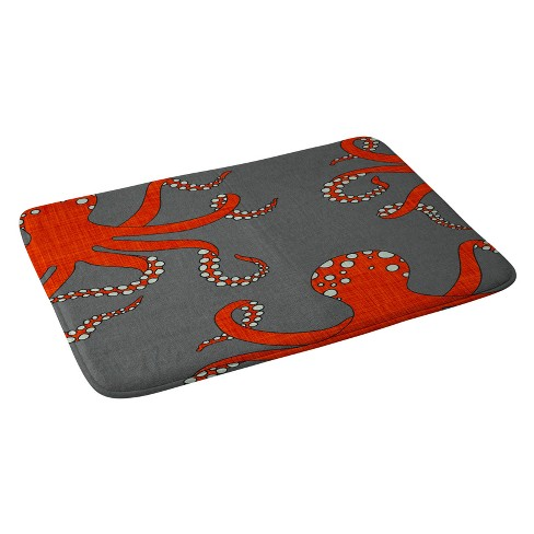 Holli Zollinger Octopus Red Bath Rugats 24 X 36 Deny Designs