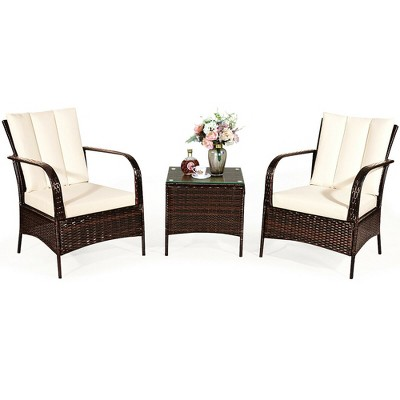 Costway 3 PCS Patio Rattan Furniture Set Coffee Table & 2 Rattan Chair W/White Cushions