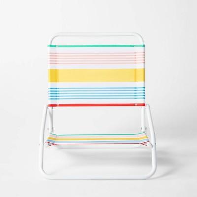Variegated Stripe Beach Sand Chair Red/Yellow/Blue - Sun Squad™