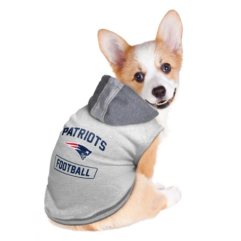 finest selection a9862 45bb2 New England Patriots Little Earth Pet Hooded Crewneck Football Shirt - Gray  S