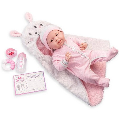 "JC Toys Soft Body La Newborn 15.5"" baby doll - Pink Bunny Bunting Gift Set"