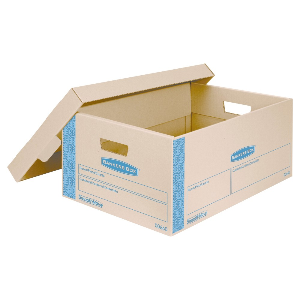 Image of Bankers Box SmoothMove Prime Large Moving Boxes, Lift Lid, 24l x 15w x 10h, Kraft/Blue, 8/CT, Brown Blue