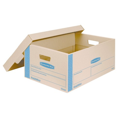 Bankers Box SmoothMove Prime Large Moving Boxes, Lift Lid, 24l x 15w x 10h, Kraft/Blue, 8/CT - image 1 of 3