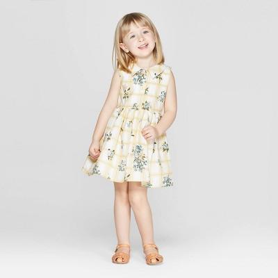 Mila & Emma Toddler Girls' Floral Print Sleeveless A-line Dress - Yellow/White 3T