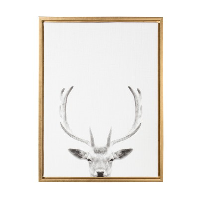 Kate & Laurel 24 x18  Sylvie Deer with Antlers And Portrait By Simon Te Tai Framed Wall Canvas Gold
