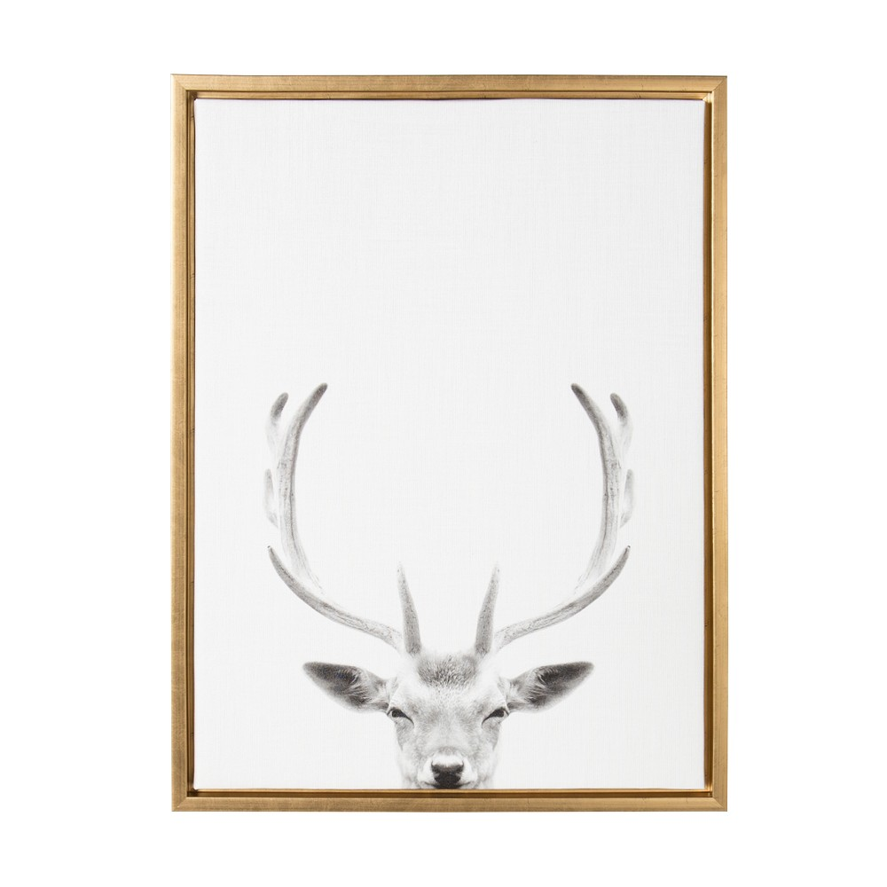 "Image of ""Kate & Laurel 24""""x18"""" Sylvie Deer with Antlers And Portrait By Simon Te Tai Framed Wall Canvas Gold"""