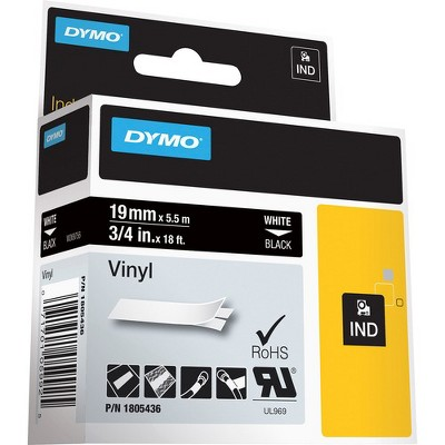 "Dymo Colored 3/4"" Vinyl Label Tape - Permanent Adhesive - 15/32"" Width x 18 ft Length - Thermal Transfer - White - Vinyl - 1 Each"
