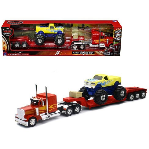 Peterbilt 379 Lowboy Truck Red with Flames and Monster Truck Yellow with Flames 1/32 Diecast Model by New Ray - image 1 of 1