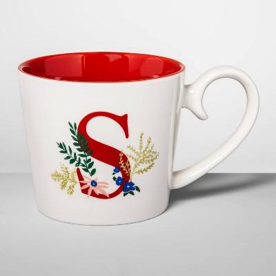 16oz Stoneware Monogram Mug Cream S - Opalhouse™
