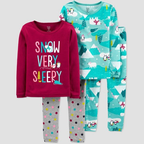 Toddler Girls' 4pc Snow Very Sleepy 100% Cotton Pajama Set - Just One You® made by carter's Maroon/Blue - image 1 of 1