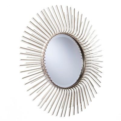 """32.5"""" x 32.5"""" Trella Round Sunburst Decorative Wall Mirror Gold - Aiden Lane"""