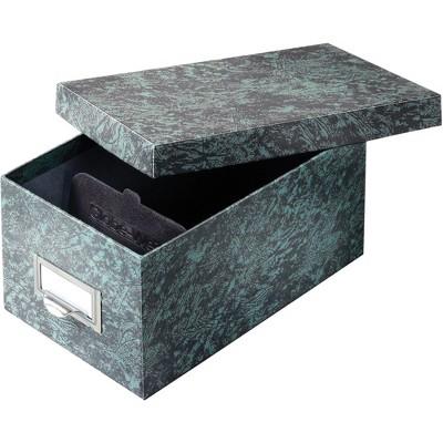 "Globe Weis Card File Box w/Lid 1000 Card Capacity 4""x6"" Agate Green 94GRE"