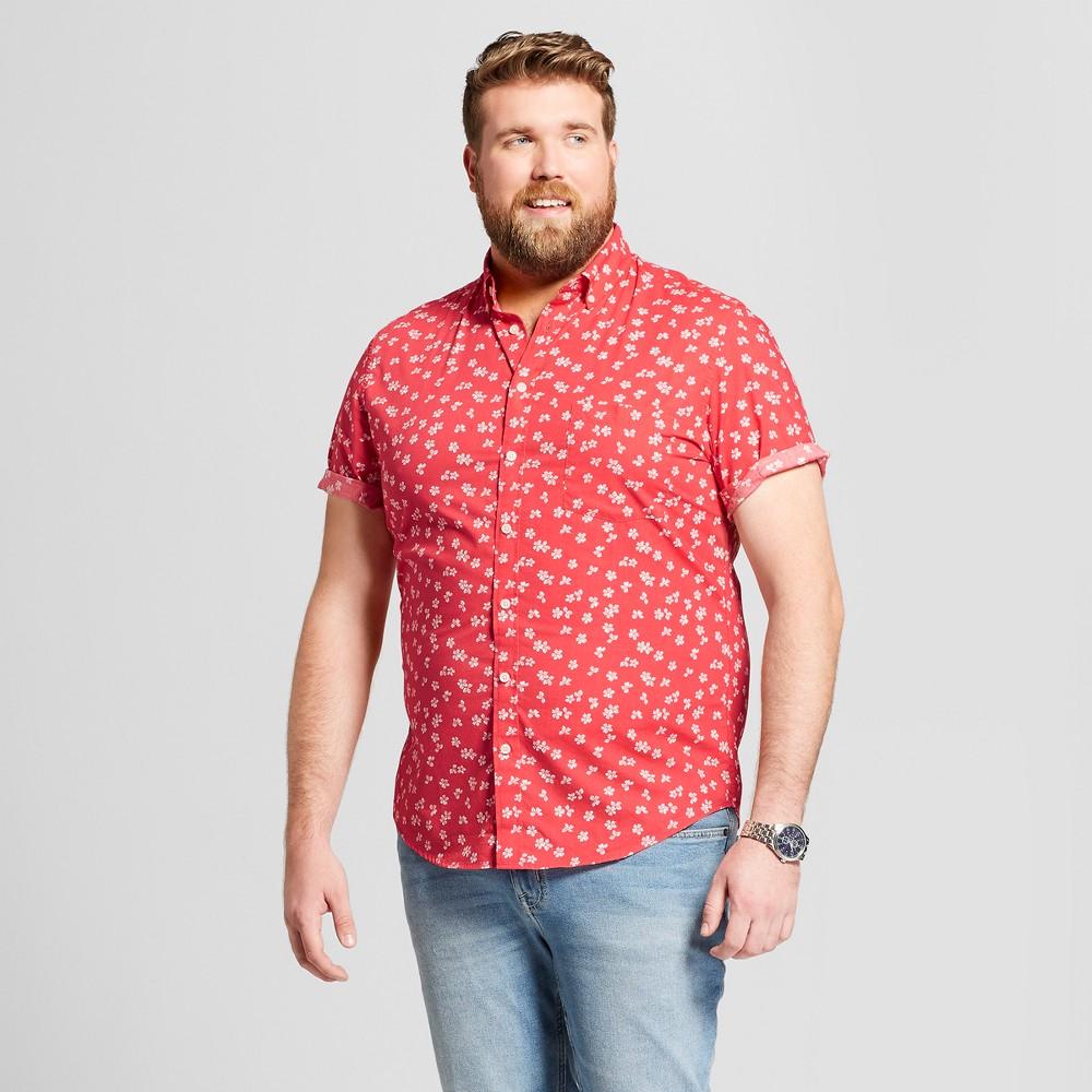 Men's Big & Tall Floral Print Standard Fit Short Sleeve Button-Down Shirt - Goodfellow & Co Amaryllis Red 4XB