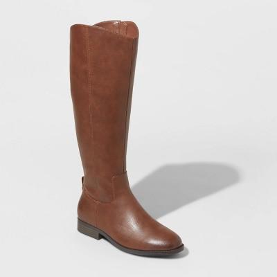 Women's Brisa Faux Leather Riding Boots - Universal Thread™ Cognac 8.5
