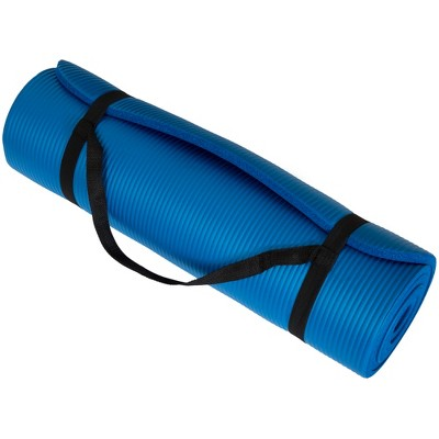 Extra Thick Yoga Mat- Non Slip Comfort Foam, Durable Exercise Mat For Fitness, Pilates and Workout With Carrying Strap By Leisure Sports (Blue)