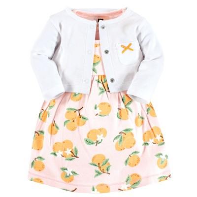 Hudson Baby Baby and Toddler Girl Cotton Dress and Cardigan Set, Citrus Orange