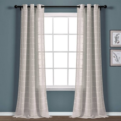 "Set of 2 (84""x38"") Farmhouse Texture Grommet Sheer Window Curtain Panels - Lush Décor"