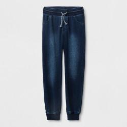 Boys' Adaptive Knit Dark Wash Denim Jogger Pants - Cat & Jack™ Blue