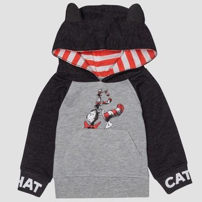 Baby Dr. Seuss Cat in the Hat Hooded Sweatshirt - Gray 6-9M