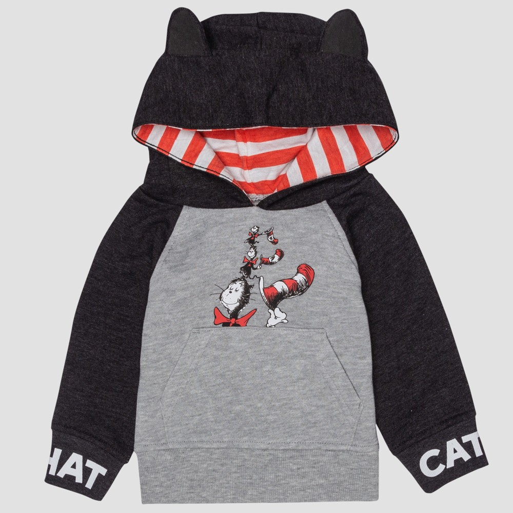 Baby Dr. Seuss Cat in the Hat Hooded Sweatshirt - Gray 24M, Infant Unisex