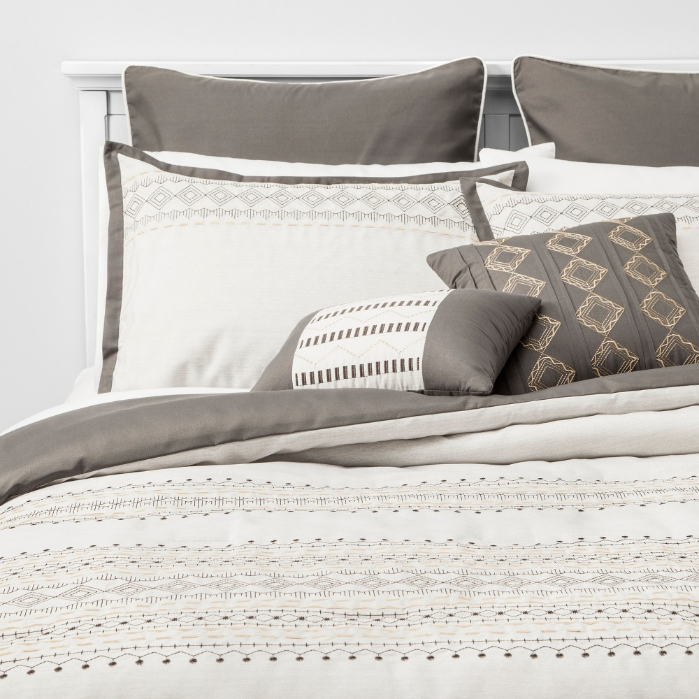 Image of 8pc King Sela Embroidered Comforter Set Gray, Gray Off-White Yellow