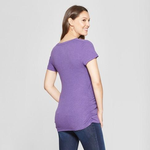 0e32dde8195e9 Maternity Short Sleeve Side Shirred V-Neck T-Shirt - Isabel Maternity By  Ingrid   Isabel™ Purple Heather L   Target
