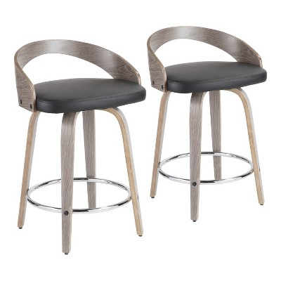 Set of 2 Grotto Mid Century Modern Counter Height Barstool Light Faux Leather Gray/Black - LumiSource