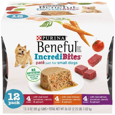 Purina Beneful IndrediBites Pate Beef, Chicken & Salmon Small Dog Wet Dog Food - 3oz/12ct Variety Pack