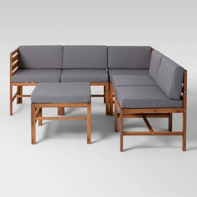 6pc Modular Acacia Sectional - Saracina Home