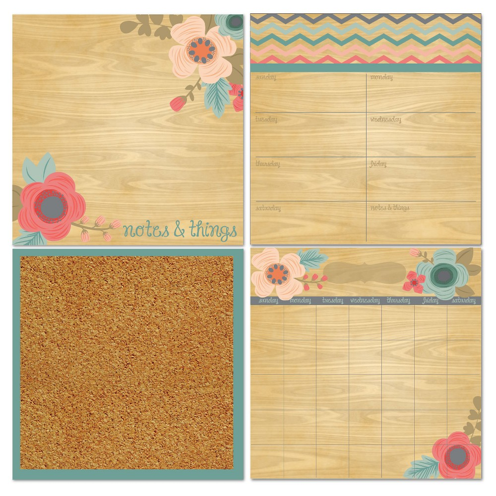 Image of Wall Pops! Cork and White Board Calendar Set 4ct - Wood with Flowers