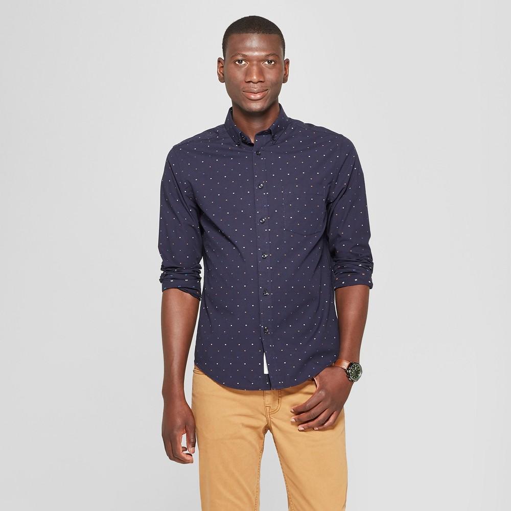 Men's Long Sleeve Standard Fit Northrop Poplin Button-Down Shirt - Goodfellow & Co Stargaze Navy XL