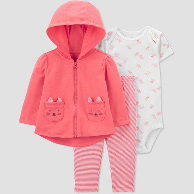 Baby Girls' Cat Short Sleeve Top & Bottom Set - Just One You® made by carter's Coral