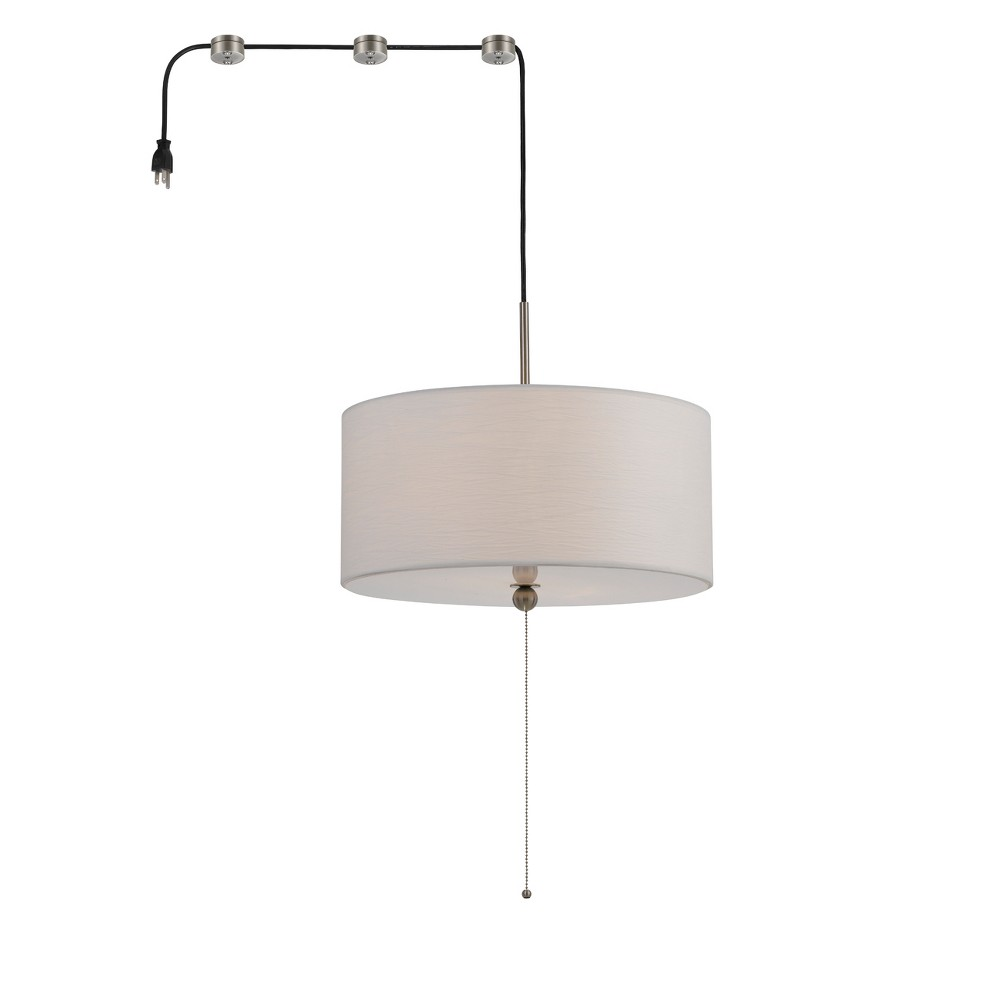 """Image of """"Swag Drum Pendant Fixture With 15ft Cord With Plug And 3 Cord Hangers Off White 10"""""""" - Cal Lighting"""""""