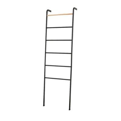 Wall Leaning Decorative Ladder Rack For Blankets, Quilt, Towels, Linen, Living Room, Bedroom, Bathroom Storage, 5.3 ft in Black