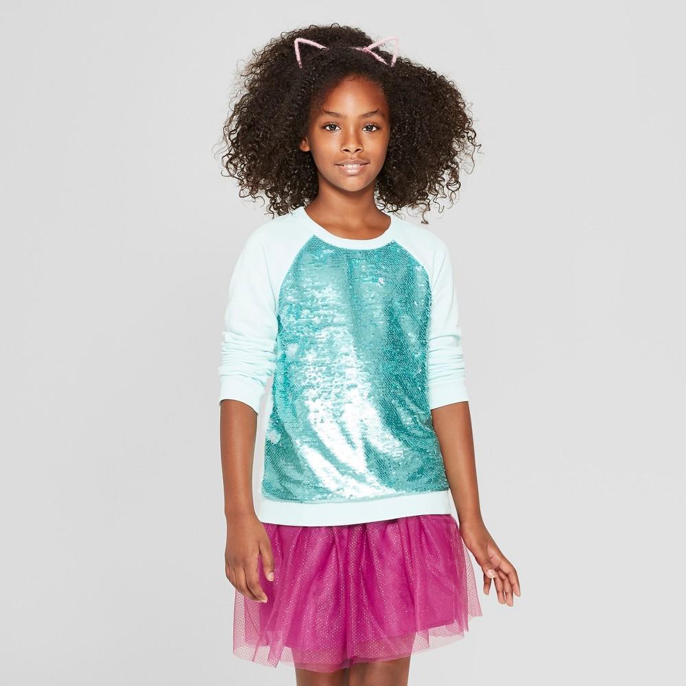 Girls' Flip Sequins Pullover - Cat & Jack Light Green S