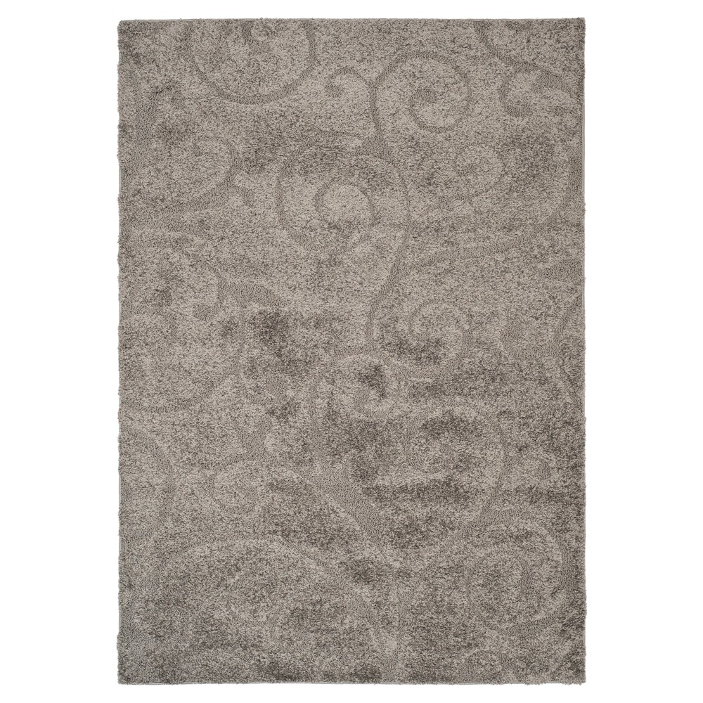Gray Abstract Shag/Flokati Loomed Area Rug - (5'3