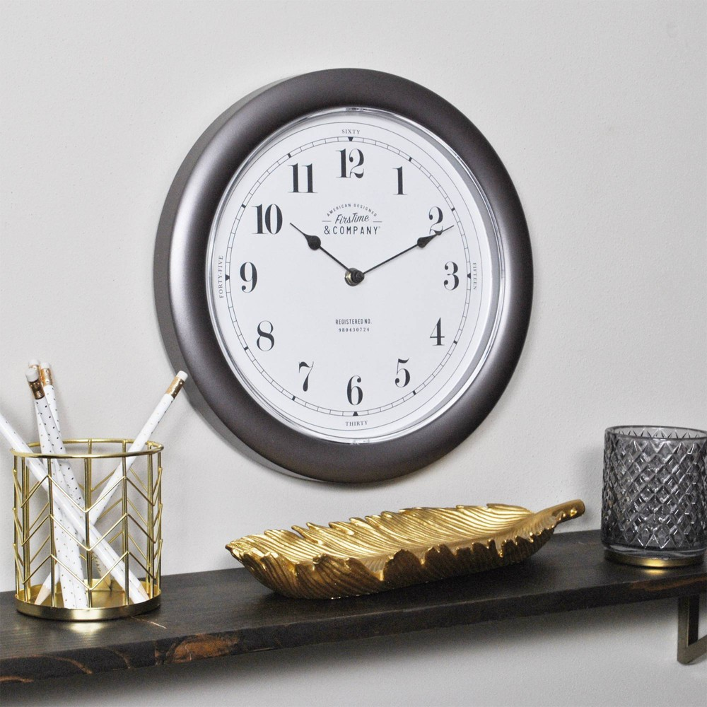 Image of Firstime & Co. Nickel Homestyle Wall Clock, Gray