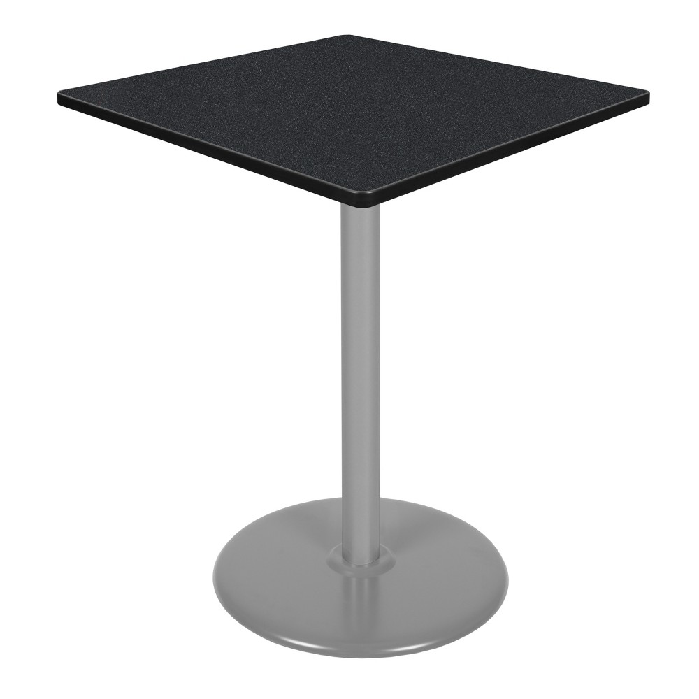 36 Via Cafe High Square Platter Base Table Carbon/Gray (Black/Gray) - Regency