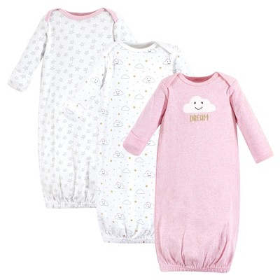 Hudson Baby Infant Girl Cotton Long-Sleeve Gowns 3pk, Pink Clouds, 0-6 Months