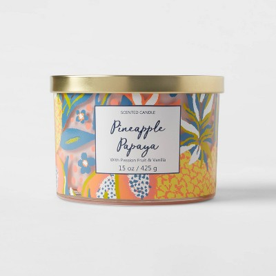 15oz Lidded Glass Jar Front Label Tropical Fruit Print 3-Wick Pineapple Papaya Candle - Opalhouse™