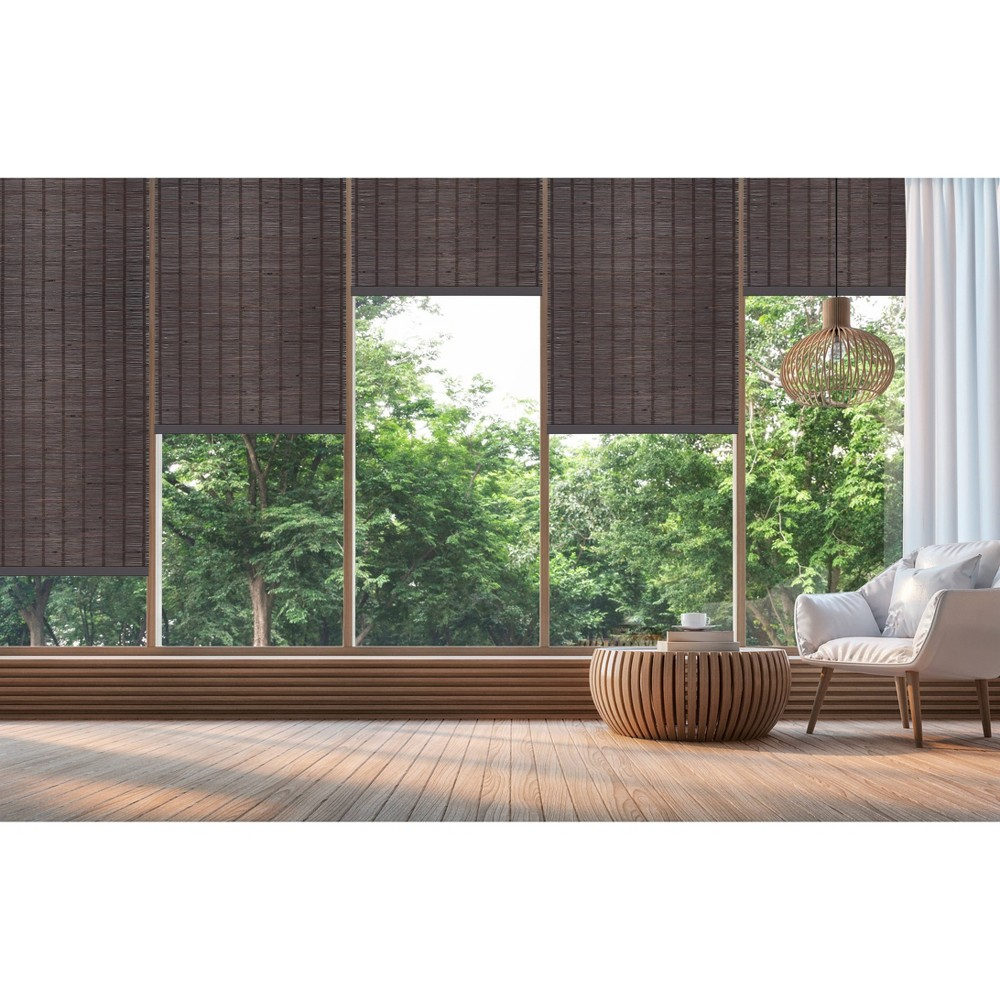 "Image of 33""x72"" Cordless Bamboo Roll Up Light Filtering Window Blinds Brown - Achim"