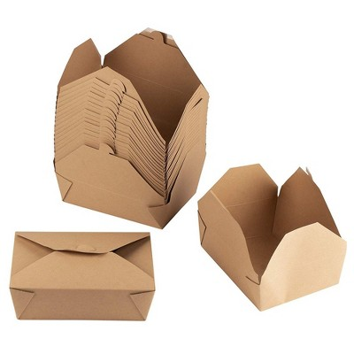 Juvale 100-Pack Disposable Brown Kraft Paper Take Out Food Container Lunch Box 71 oz, 8.5 x 6.5 x 2.5 in