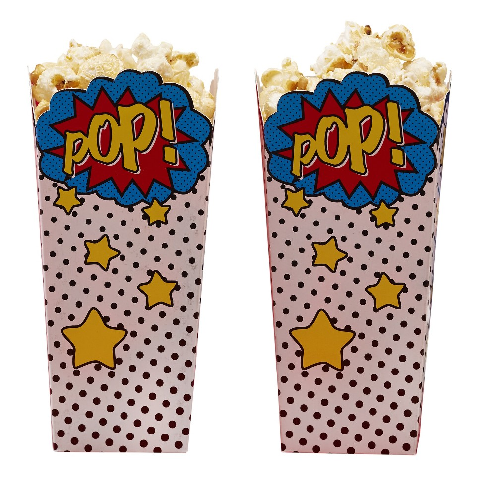 8ct Ginger Ray Popcorn Boxes Comic Superhero, Multi-Colored