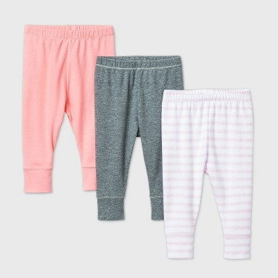 Baby Girls' 3pk Flamingo Parade Pull-On Pants - Cloud Island™ Pink 0-3M