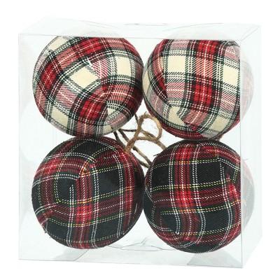 Vickerman Fabric Plaid Ball Ornament
