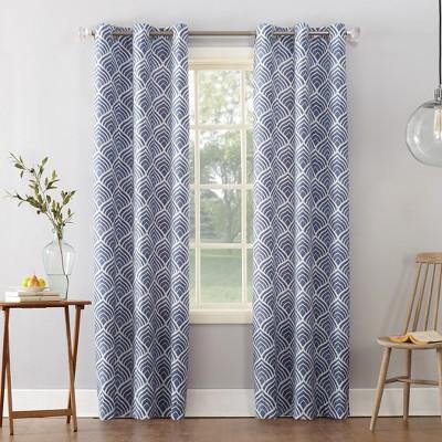 Clarke Geometric Print Textured Thermal Insulated Grommet Curtain Panel Blue 40 x84  - Sun Zero