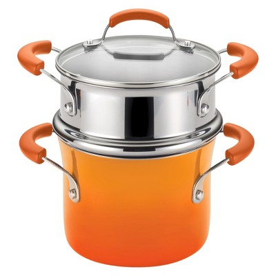 Rachael Ray 3 Quart Covered Steamer Set - Orange