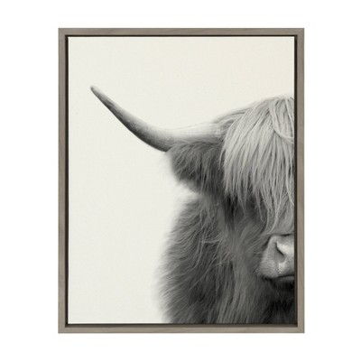 "18"" x 24"" Sylvie Highland Cow Crop Framed Canvas Wall Art by The Creative Bunch Studio Gray - Kate and Laurel"