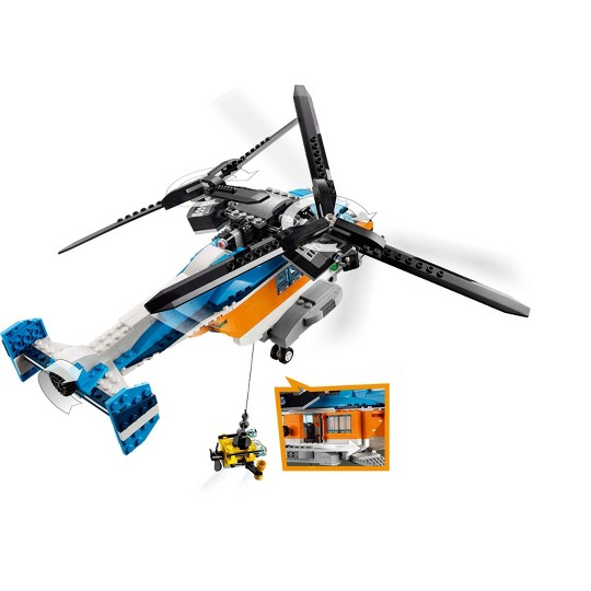 LEGO Creator Twin-Rotor Helicopter 31096 Toy Helicopter Building Set with Submarine 569pc image number null