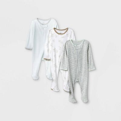 Baby Boys' 3pk 'Oh Deer' Sleep N' Play - Cloud Island™ Aqua 0-3M